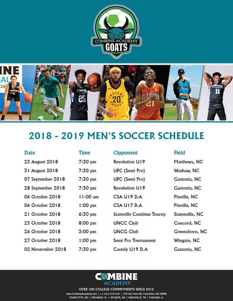 2018 - 2019 Combine Academy Soccer Schedule