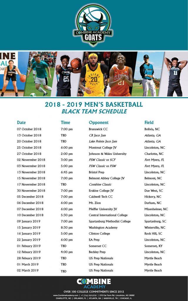 Combine Academy Men's Basketball Black Team
