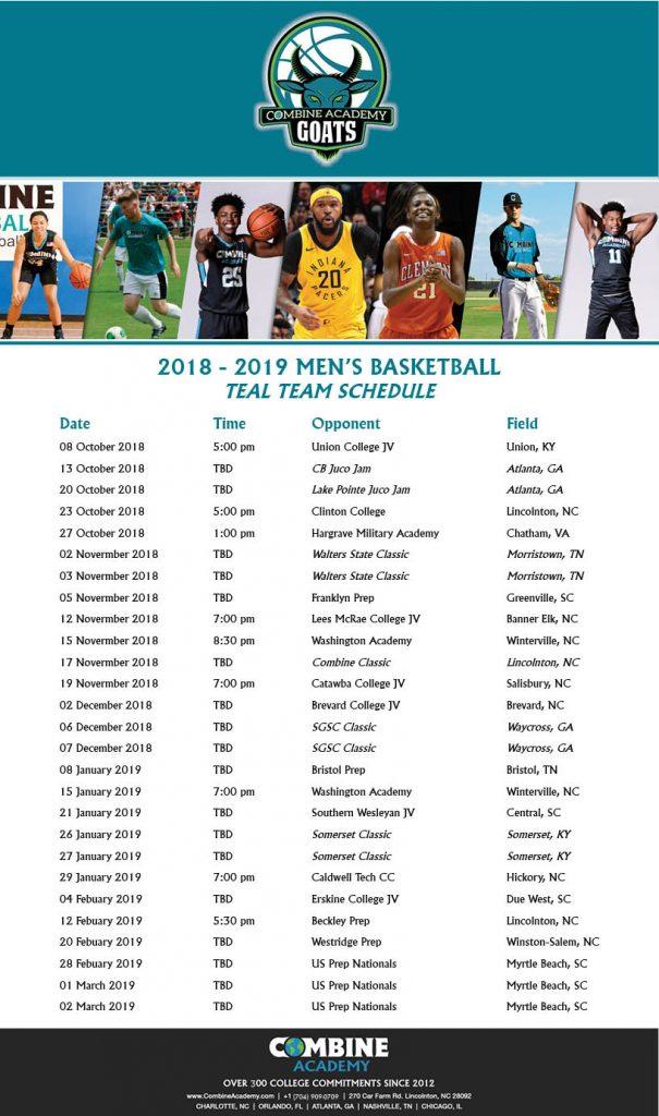 Combine Academy Men's Basketball Teal Team