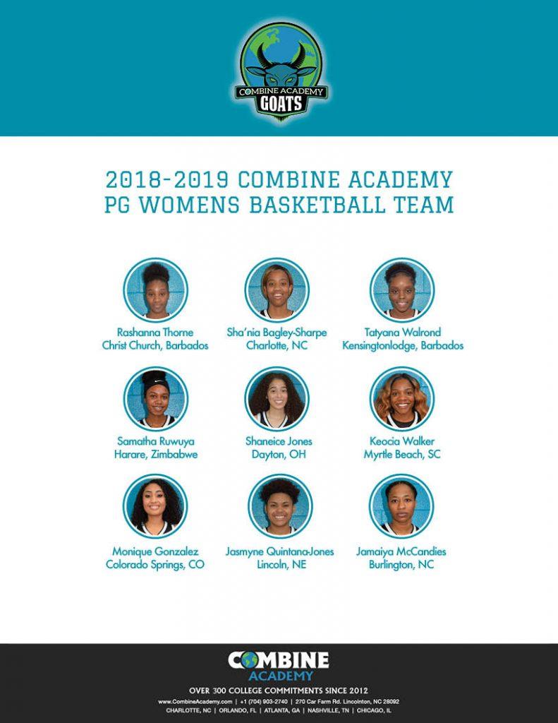 2018 - 2019 Combine Academy Women's Basketball Roster