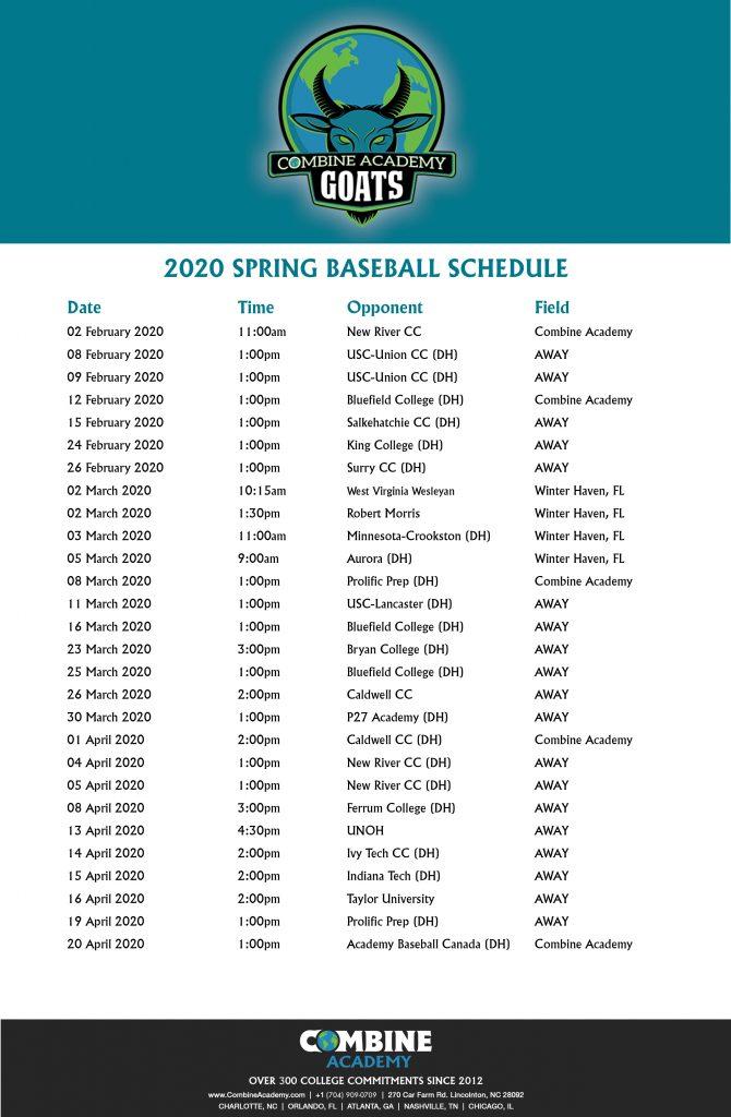 2020 Combine Baseball Schedule